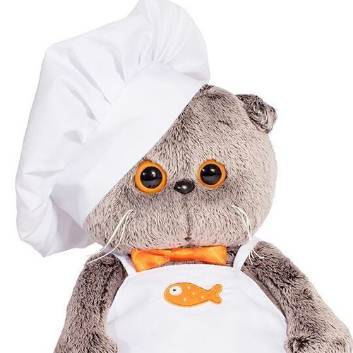 Basik in a chef's aprob and hat