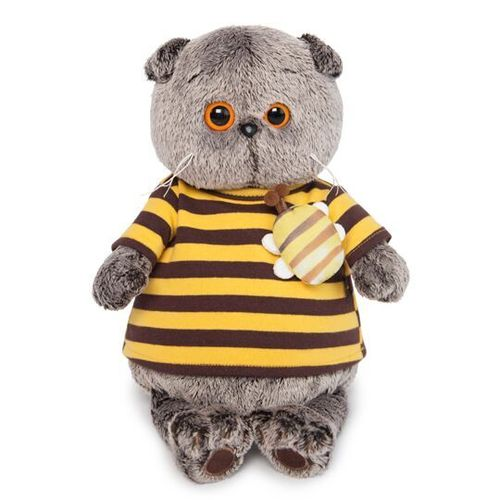 Basik in a striped t-shirt with a bee