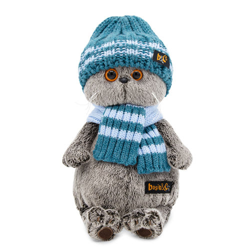 Basik in a blue knitted hat and scarf